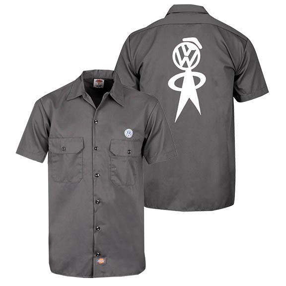 Drg010180 volkswagen otto mechanic work shirt gray fit for Mechanic shirts with logo