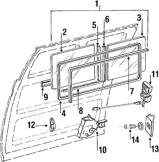 251843604b - latch  lock  vanagon  rear  flyscreen