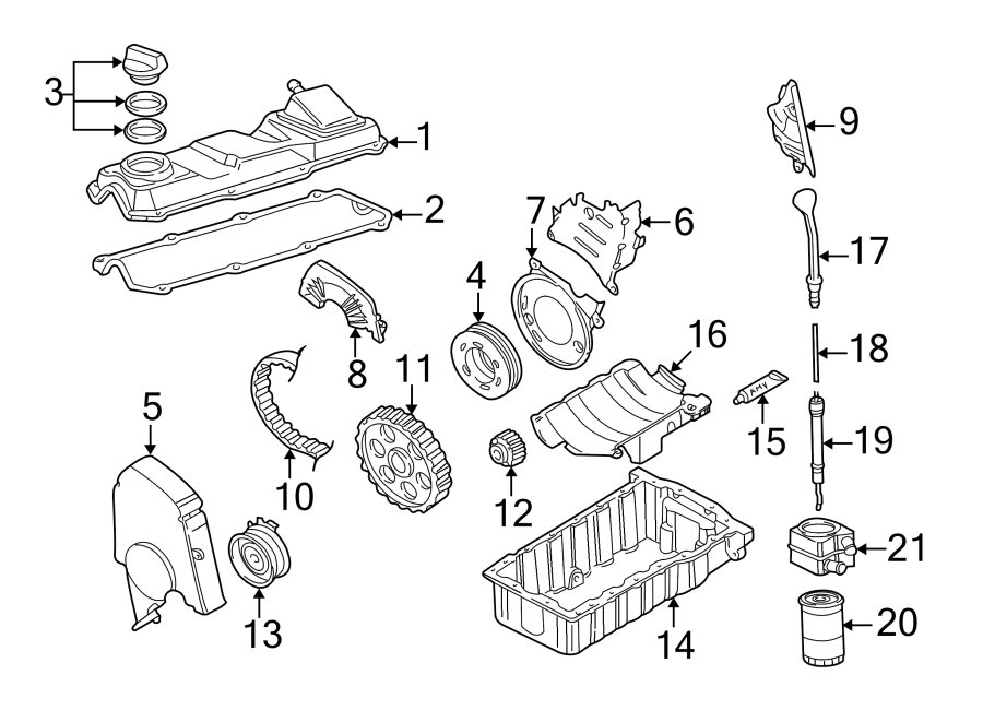 Diagram ENGINE / TRANSAXLE. ENGINE PARTS. for your 1997 Volkswagen Golf GTI Hatchback 2.0L M/T