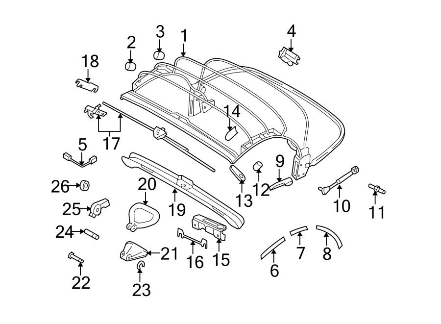 2004 volkswagen beetle convertible gls 2 0l m  t convertible top latch bracket  lower