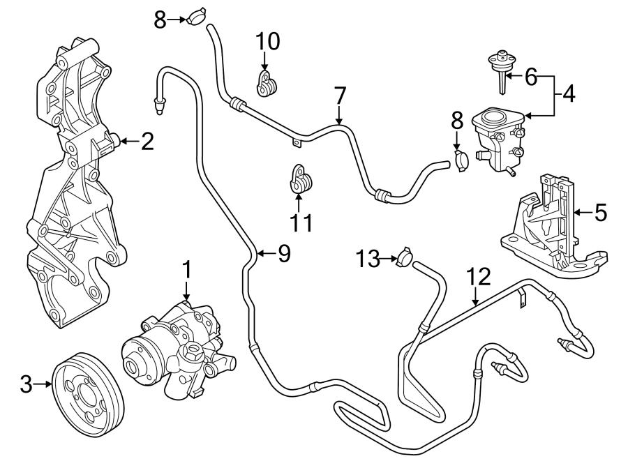 2013 volkswagen beetle convertible power steering pressure hose clamp  trans  pump  variable