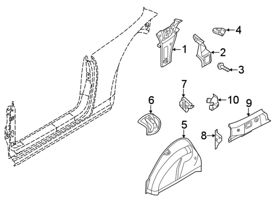 5c5813088 - quarter panel reinforcement bracket  upper   convertible  convertible