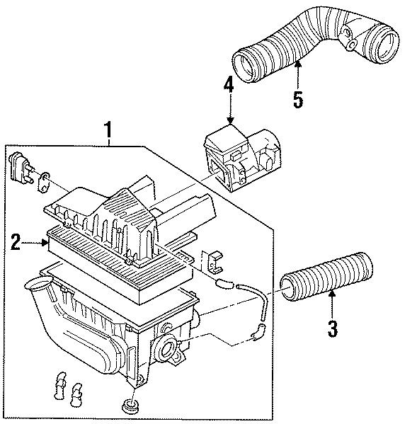 1997 volkswagen passat tdi sedan 1 9l diesel m  t air mass sensor  air meter  mass air flow