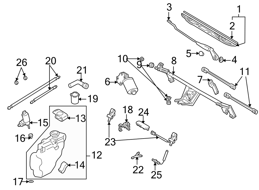Diagram WINDSHIELD. WIPER & WASHER COMPONENTS. for your 1997 Volkswagen Golf GTI Hatchback