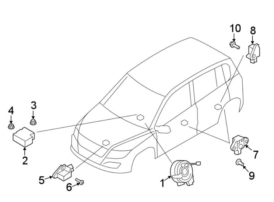 2011 Volkswagen Tiguan Air Bag Clockspring  Modules  Sensors  Wheel - 5k0953569al