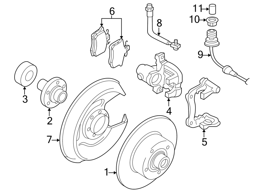 Diagram REAR SUSPENSION. BRAKE COMPONENTS. for your Volkswagen