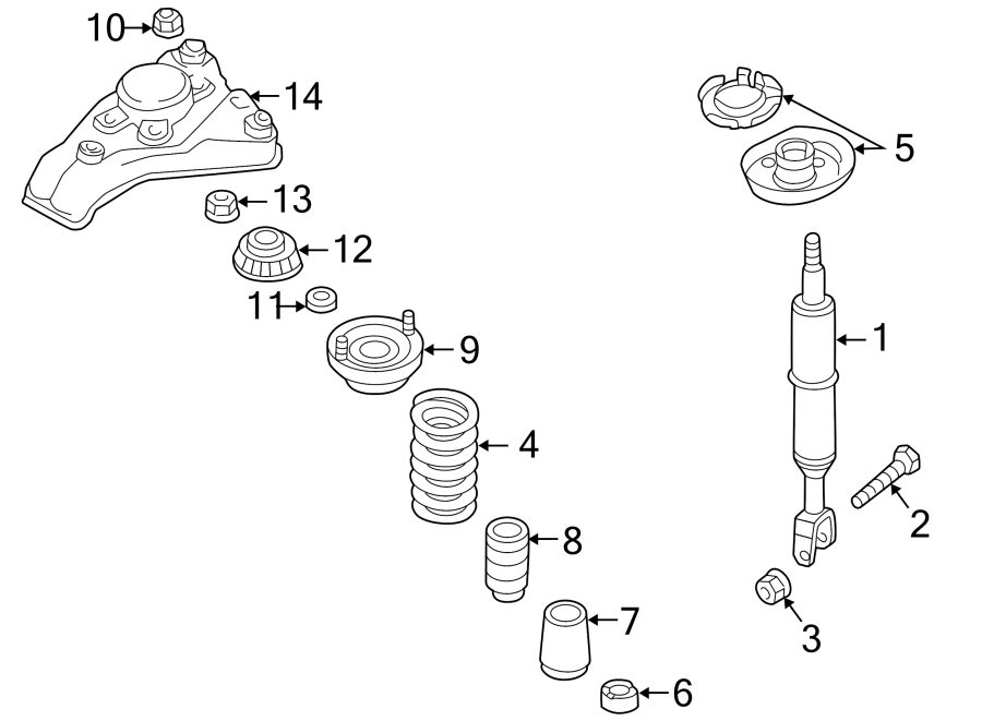 Diagram FRONT SUSPENSION. STRUTS & COMPONENTS. for your Volkswagen