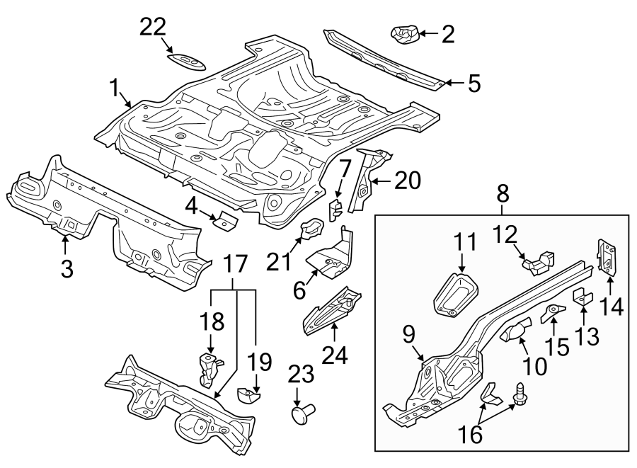 5q0803274b - spare tire bracket  rear   floor  body  rails