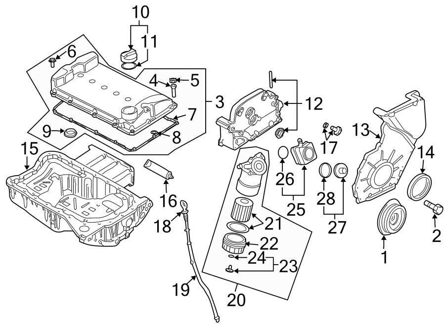 2004 volkswagen golf engine oil pan  liter  bearings  trans - 021103601l