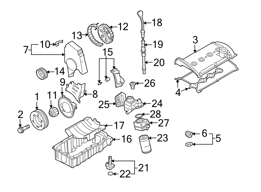 Diagram ENGINE / TRANSAXLE. ENGINE PARTS. for your 1997 Volkswagen Golf GTI Hatchback