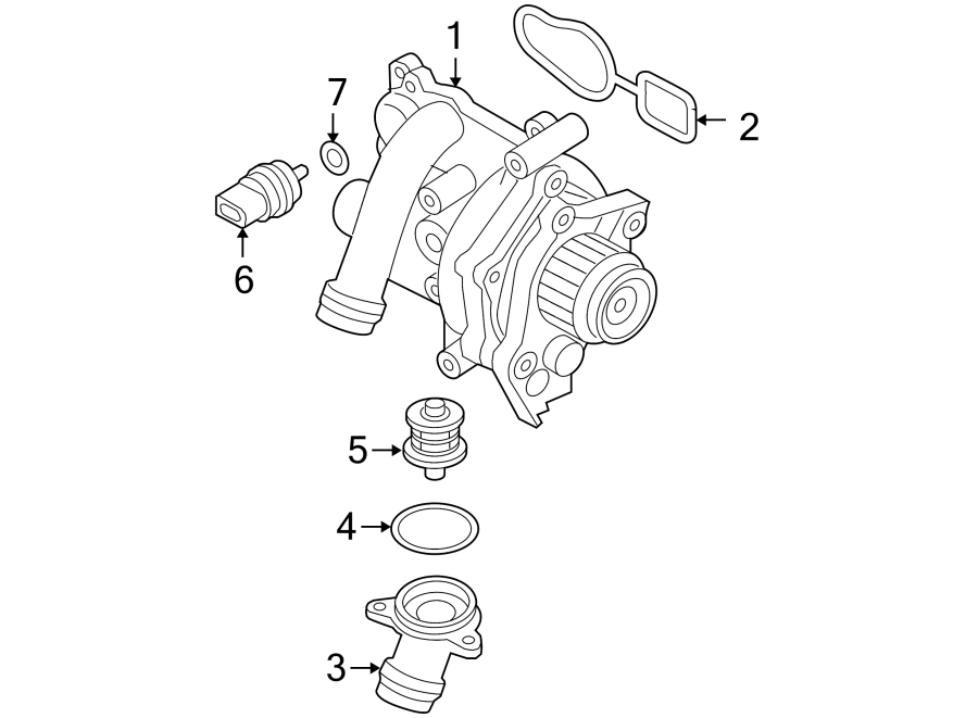 2009 Volkswagen Jetta Engine Water Pump Assembly  Liter  Cooling  Main - 06j121026g
