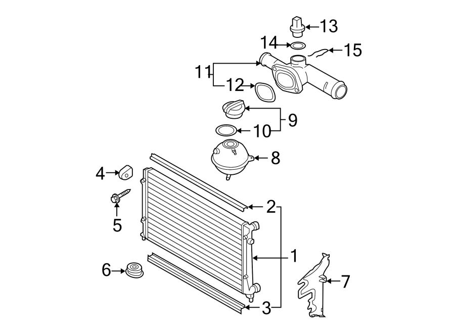 03l121132 - engine coolant crossover pipe  engine coolant outlet flange  2 0 liter