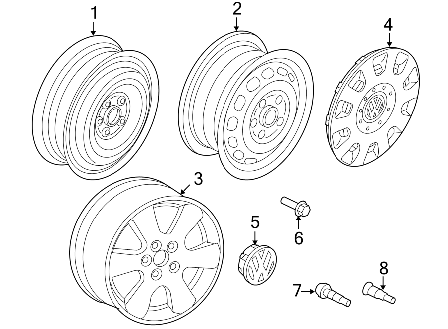 Diagram WHEELS. for your 2020 Volkswagen Golf