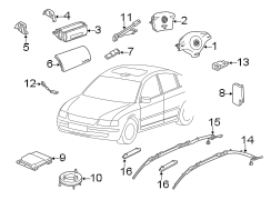 Diagram RESTRAINT SYSTEMS. AIR BAG COMPONENTS. lateral impact. wagon. driver air bag. sedan. w/3 spoke wheel. w/4 spoke wheel. front. psngr air bag. rear. w/o steering sensor. w/steering sensor. for your 1999 Volkswagen Golf TDI 1.9L DIESEL M/T